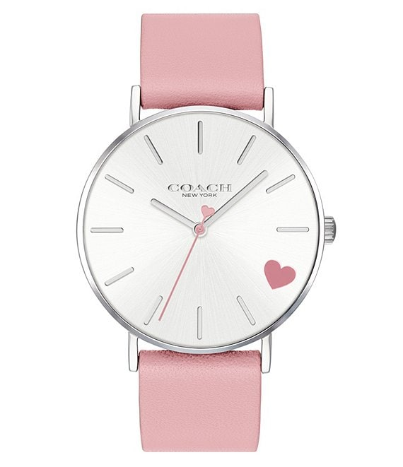 Color:Pink - Image 1 - Quartz Analog Perry Pink Leather Heart Watch