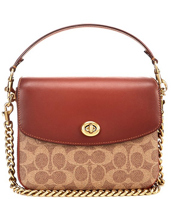 Color:Tan Rust/Brass - Image 1 - Signature Cassie Coated Canvas Turnlock Convertible Crossbody Bag