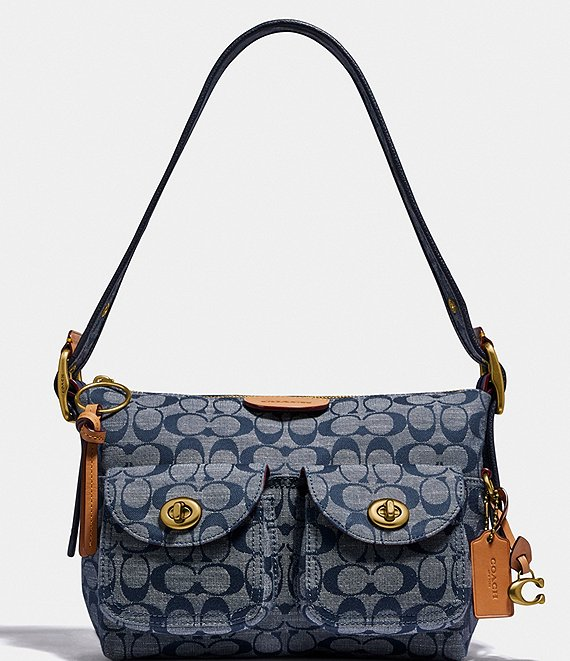 Color:Chambray/Brass - Image 1 - Signature Chambray Cargo Shoulder Bag