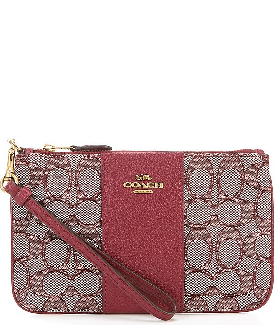 Color:Burgundy/Brass - Image 1 - Signature Jacquard and Pebble Leather Small Wristlet