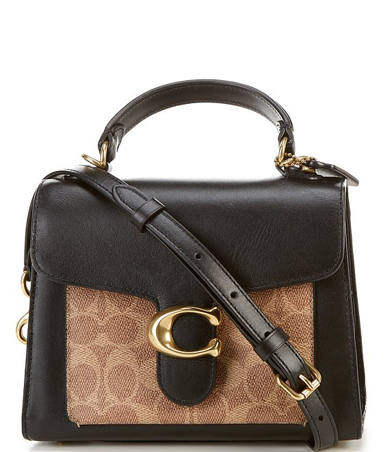 Color:Tan Black/Brass - Image 1 - Signature Tabby Top Handle Leather and Suede Satchel Bag