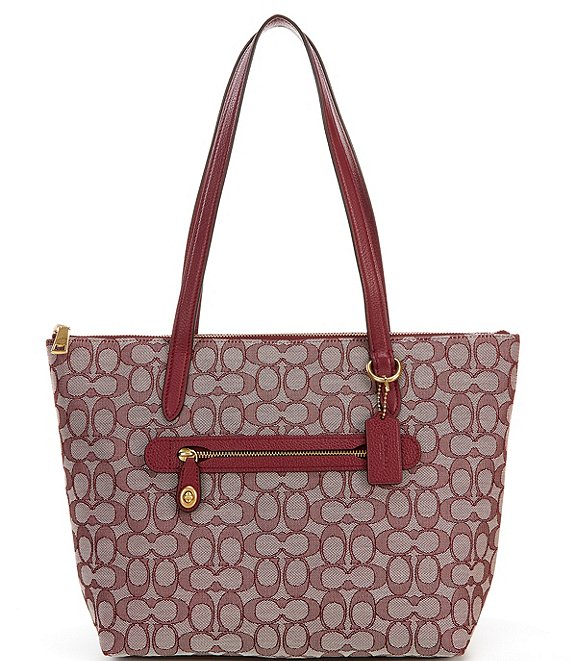 Color:Burgundy/Brass - Image 1 - Signature Taylor Pebble Leather Tote Bag