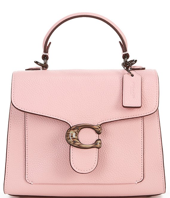 Color:Powder Pink/Pewter - Image 1 - Tabby Top Handle Pebble Leather Shoulder Bag