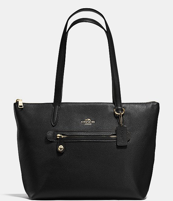 COACH Taylor Pebble Leather Zip Top Tote Bag