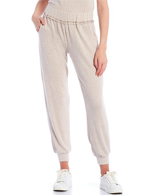 Color:Heather Oatmeal - Image 1 - Coordinating Mid-Rise Hacci Jogger Pants