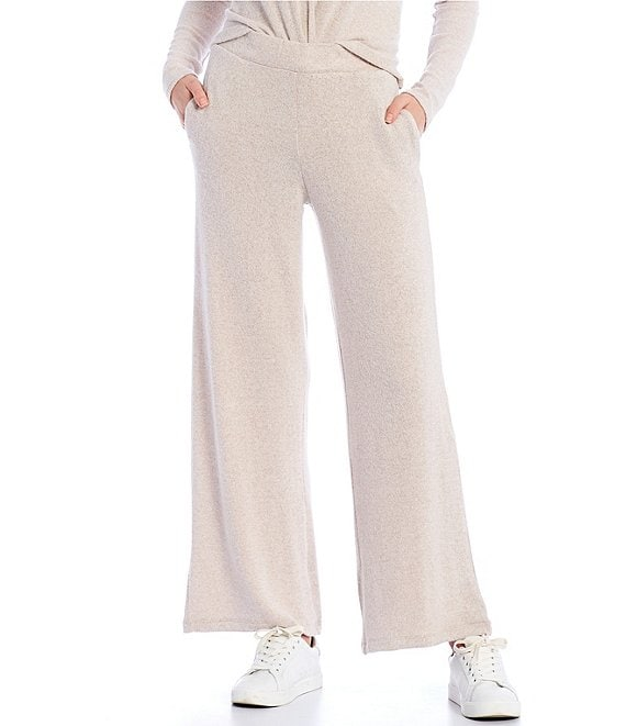 Color:Heather Oatmeal - Image 1 - Coordinating Wide Leg Hacci Pants