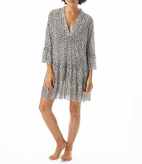 Color:Ivory - Image 1 - Cheetah Print Enchant Deep V-Neck Ruffle Hem Cover Up Dress
