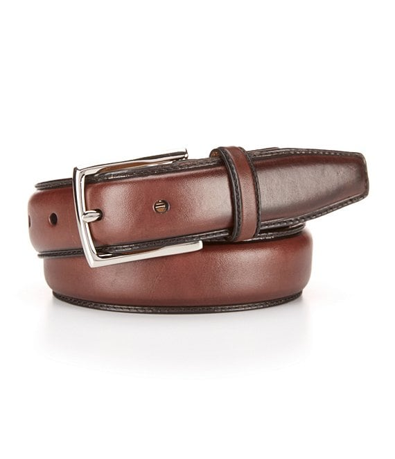 Color:Chocolate - Image 1 - Full Dome Stitched Leather Belt