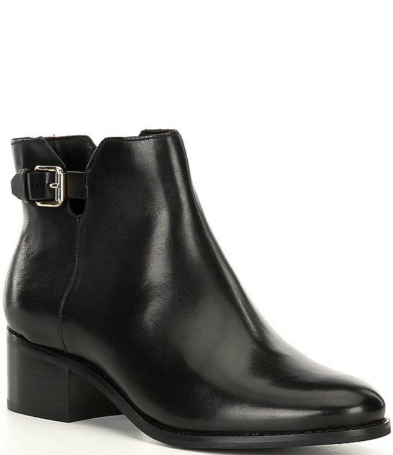 Color:Black Leather - Image 1 - Haidyn Leather Buckle Detail Block Heel Booties