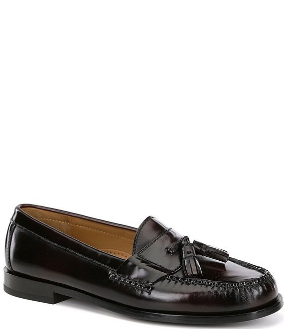 Color:Burgundy - Image 1 - Men's Pinch Tassel Loafers