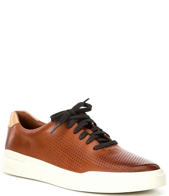 Color:British Tan - Image 1 - Men's Rally Perforated Suede Sneakers