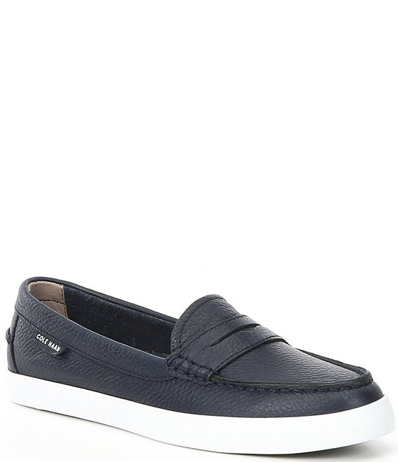 Color:Peacoat - Image 1 - Nantucket Leather Penny Loafers
