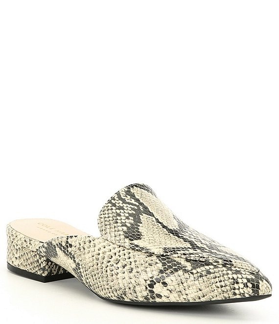Color:Classic Roccia - Image 1 - Piper Snake Print Leather Block Heel Loafer Mules