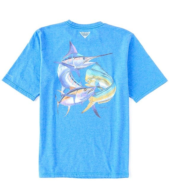 Color:Vivid Blue/Offshore - Image 1 - PFG Carey Chen Graphic Short-Sleeve Tee