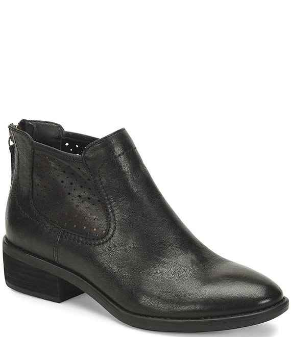 Color:Black - Image 1 - Cadwin Perforated Leather Block Heel Chelsea Booties