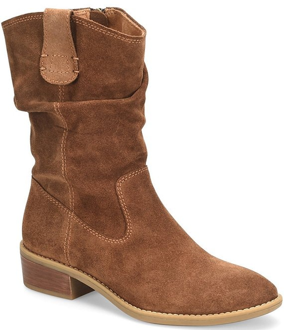 Color:Brown - Image 1 - Chrysta Waterproof Suede Slouchy Mid Shaft Block Heel Western Boots