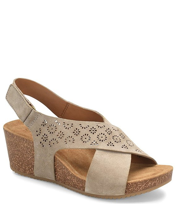 Color:Taupe - Image 1 - Ellasyn Perforated Suede Slingback Wedge Sandals