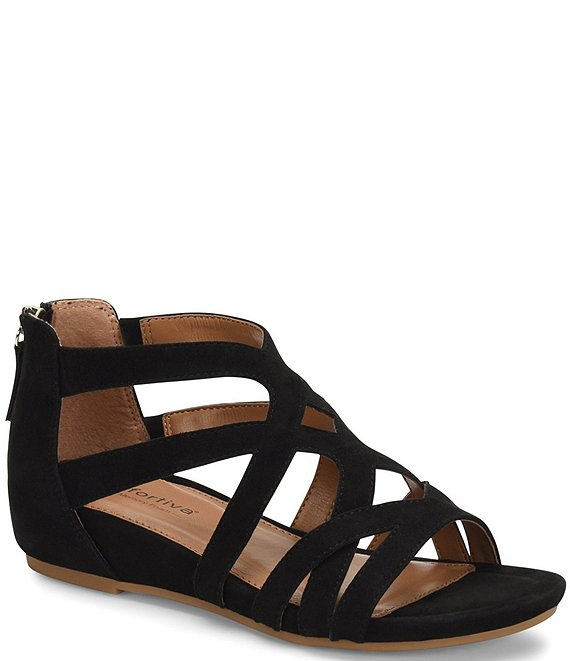 Color:Black - Image 1 - Mayra Suede Demi-Wedge Sandals