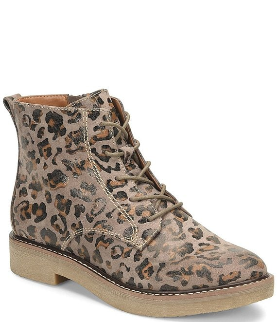 Color:Taupe - Image 1 - Resee Leopard Print Suede Lace-Up Block Heel Booties
