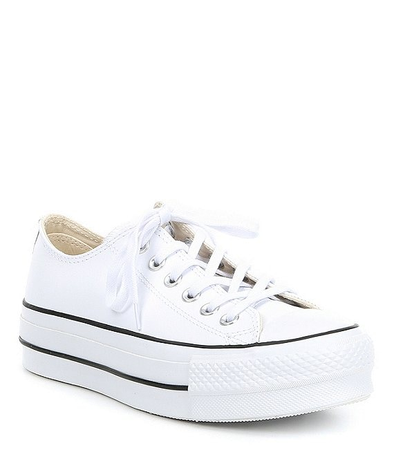 converse chuck taylor all star leather platform low sneakers in white