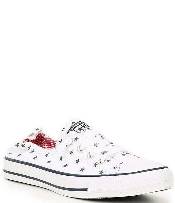 Color:White - Image 1 - Women's Chuck Taylor All Star Shoreline Star Print Slip On Sneakers
