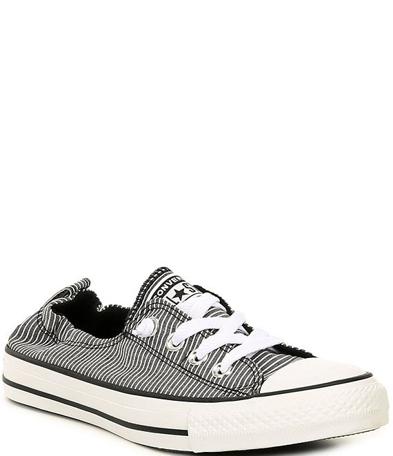 Color:Black/White/Black - Image 1 - Women's Chuck Taylor All Star Shoreline Striped Slip On Canvas Sneakers