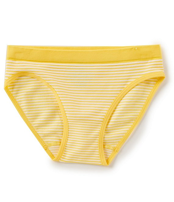 Color:Yellow - Image 1 - Big Girls 7-16 Ministripe Seamless Hipster Panties