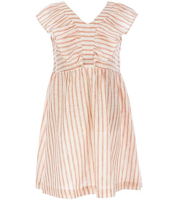 Color:Ivory - Image 1 - Big Girls 7-16 Ruffle-Sleeve Stripe Babydoll Dress
