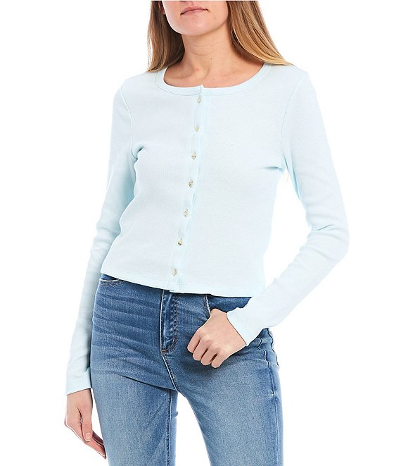 Color:Aqua - Image 1 - Button Front Ribbed Knit Top