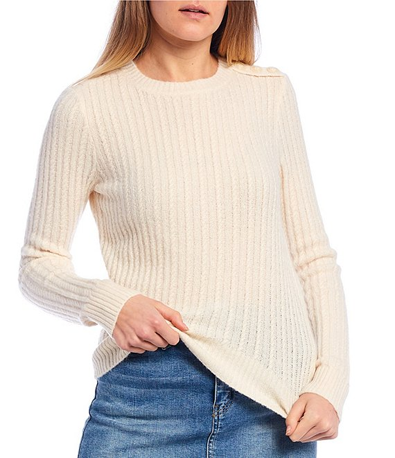 Color:Ivory - Image 1 - Button Neck Cable Sweater