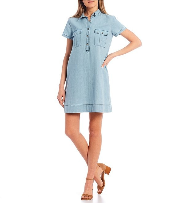 Color:Light Blue - Image 1 - Chambray Shirt Dress