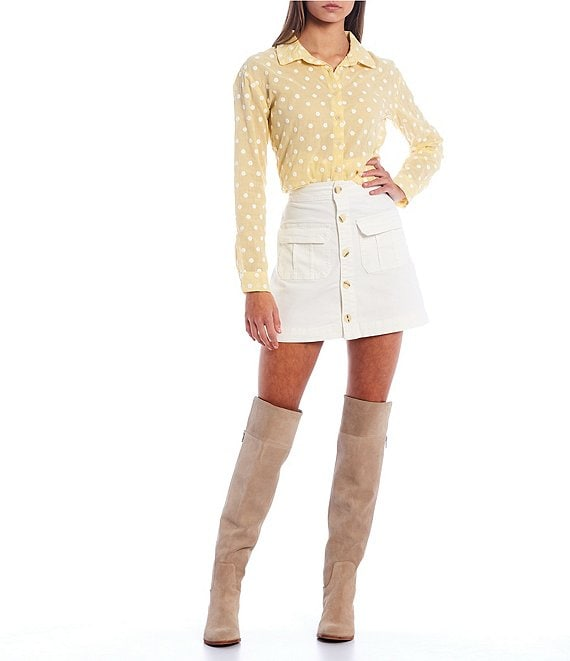 Color:Yellow - Image 3 - Copper Key Embroidered Dot Long Sleeve Top