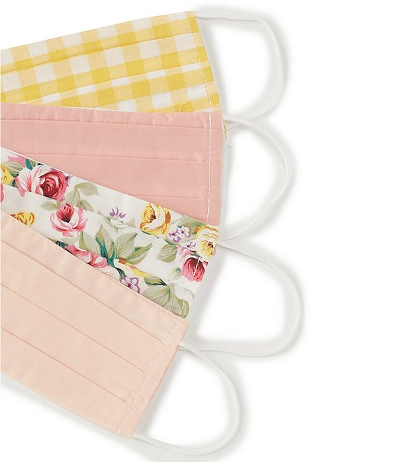 Color:Multi - Image 1 - 4-Pack Checked/Floral Cloth Face Masks