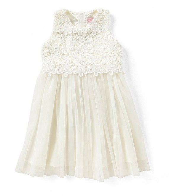 Color:Ivory - Image 1 - Little/Big Girls 2-8 Lace/Tulle Tie-Back Dress