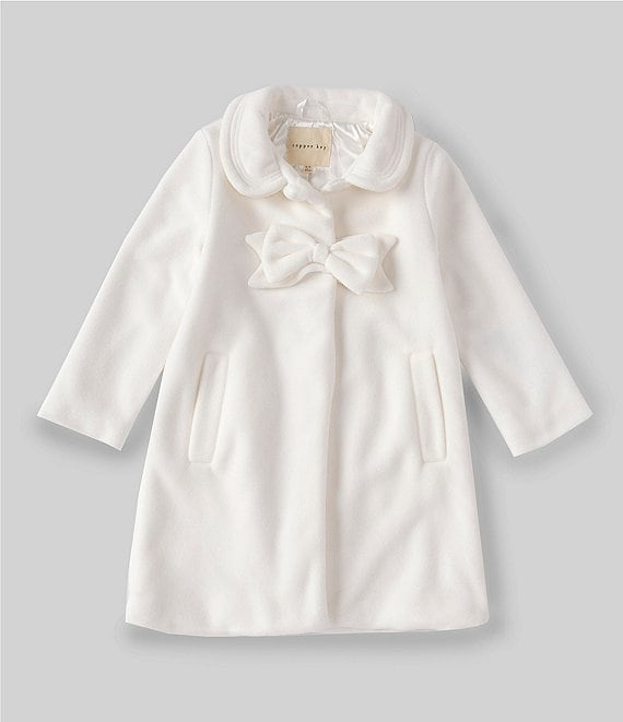 Color:Ivory - Image 1 - Little Girls 2T-6X Bow-Applique Dressy Coat