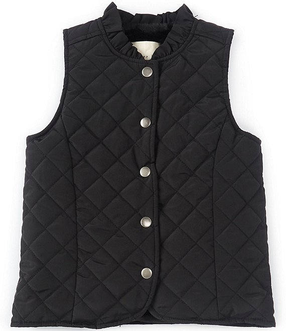 Color:Black - Image 1 - Little Girls 2T-6X Ruffle Collar Quilted Vest