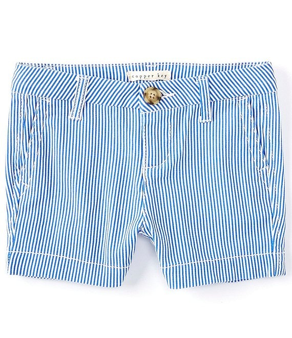 Color:Stripe - Image 1 - Little Girls 2T-6X Stripe Chino Shorts