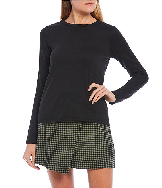 Color:Black - Image 1 - Long Sleeve Knit Top