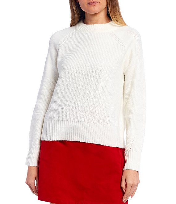 Color:Ivory - Image 1 - Long Sleeve Ribbed Knit Sweater