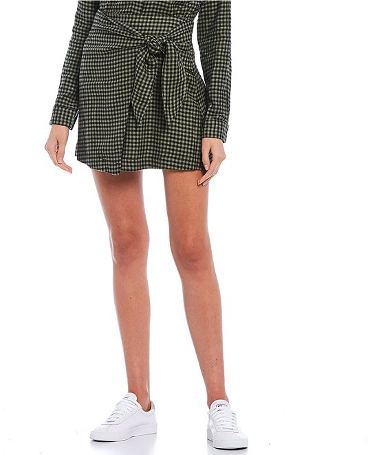 Color:Olive - Image 1 - Coordinating Plaid Side Tie Skirt