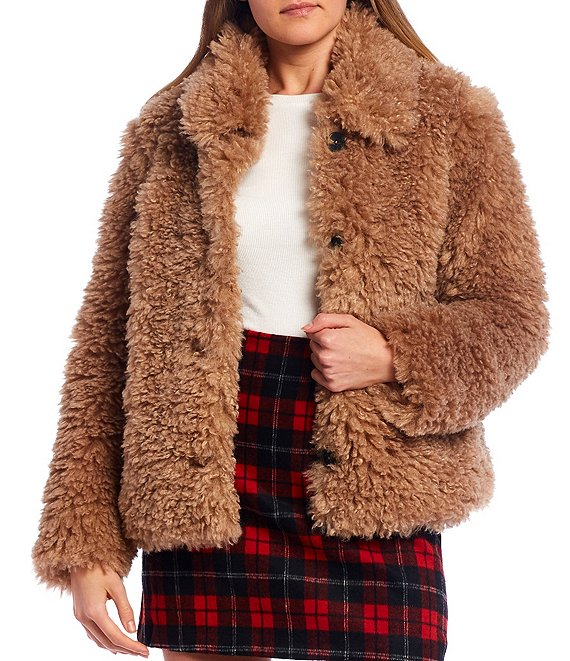 Color:Taupe - Image 1 - Shag Faux Fur Button Front Coat