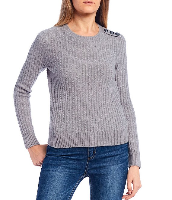 Color:Heather Grey - Image 1 - Shoulder Button Detail Cable Knit Sweater