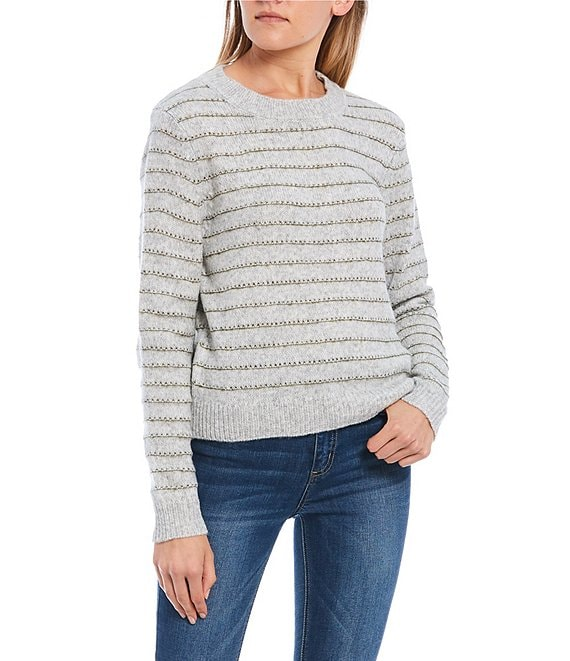 Color:Grey - Image 1 - Stripe Crew Neck Long SleeveSweater