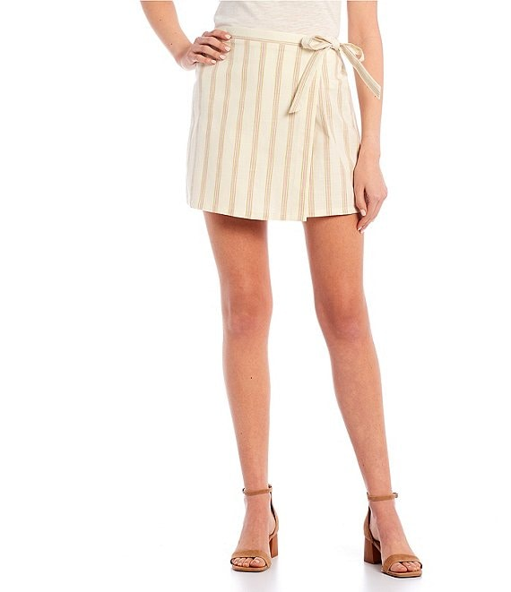 Color:Ivory Multi - Image 1 - Stripe Woven Skort