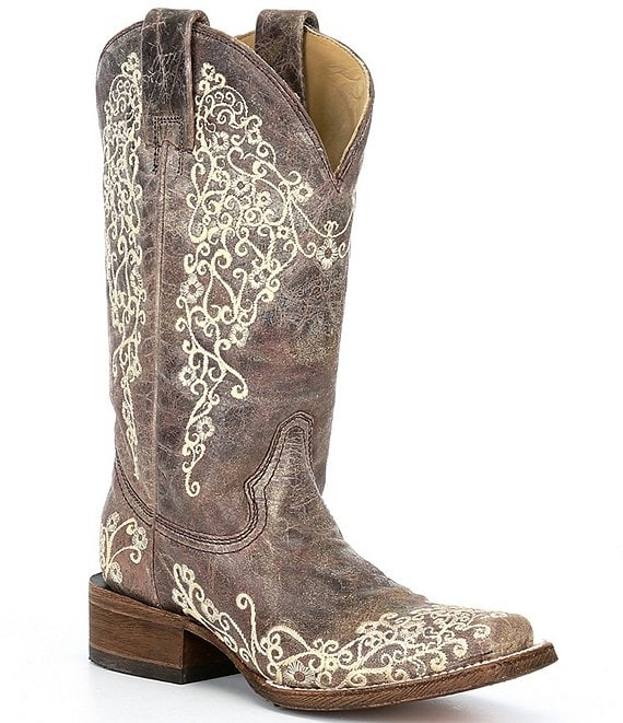 Color:Brown - Image 1 - Crater Embroidered Leather Western Boots