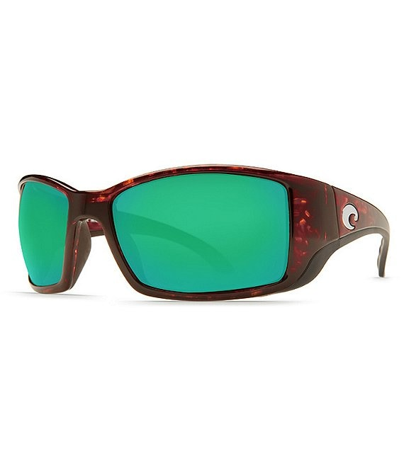 Costa Blackfin Tortoise Green Mirror Polarized Wrap Sunglasses