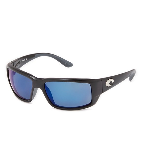 Color:Matte Black/Blue Mirror - Image 1 - Fantail Rectangle Polarized Sunglasses