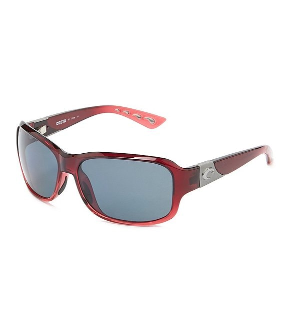 Color:Pomegranate - Image 1 - Inlet Polarized UVA/UVB Protection Rectangle Sunglasses