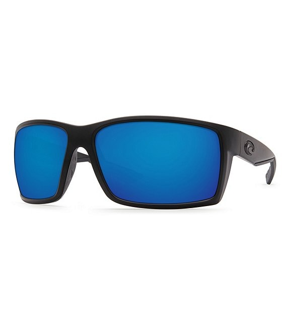 Color:Blackout/Blue - Image 1 - Reefton Blackout Polarized Mirrored Rectangle Sunglasses