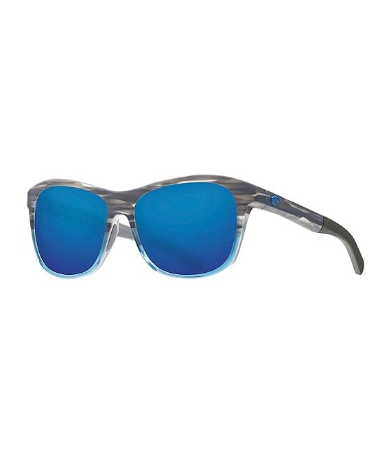 Color:Coastal Fade Blue Mirror - Image 1 - Vela Ocearch Blue 58 Polarized Square Sunglasses
